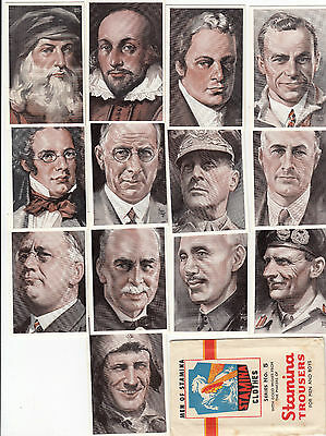 STAMINA men's clothes advertising set of 13 cards famous men inc Kingsford Smith