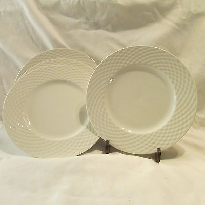 """4 Crate&Barrel Pagnossin White Weave Rimmed Salad Plates 8 1/4""""  Ironstone Italy"""