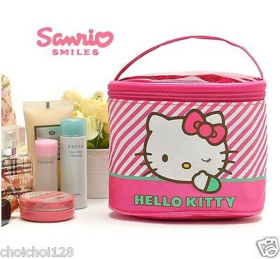 Hello Kitty Pink Stripes Frabic Cosmetic Pouch Makeup Bag W/ Hand Strap KK304