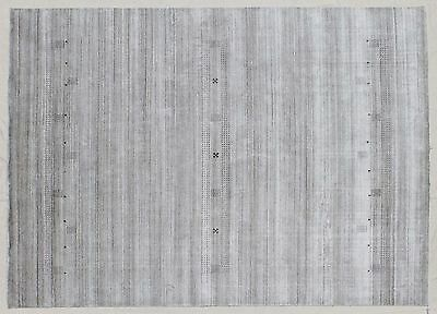 9x12 Contemporary Sophisticated Modern Gabbeh Gray Hand Woven Rug Wool