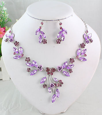 White Gold Plated Purple Austrian Rhinestone Crystal Necklace Earring Set