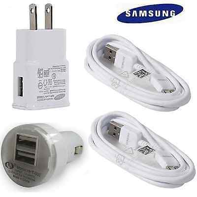 OEM Samsung Wall Charger +Car + 2 USB 3.0 Data Sync Cables For Galaxy Note 3  S5