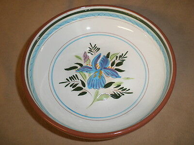 "Vintage  Stangl  8""  Serving Bowl  Hand Painted  Blue &  Purple  Iris."