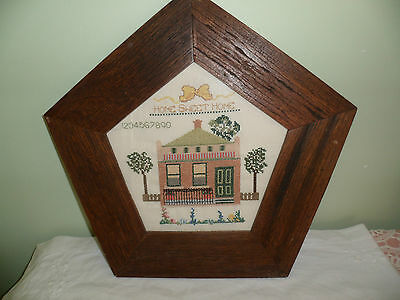 Rustic Framed Completed Home Sweet Home Cross Stitch Sampler Old Colonial House