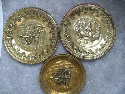 "vintage lot of 3 SOLID BRASS WALL PLAQUES made in ENGLAND 10"" & 12"" PUB SCENE"