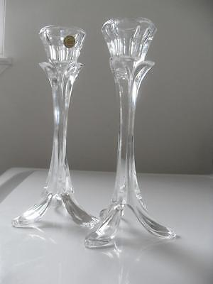 24% LEAD CRYSTAL Cristal d'Arques France Pair CANDLE STICK HOLDERS Mint cndtn