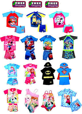 NEW Sz 1~10 KIDS BOYS SWIMWEAR SWIM SUIT BATHERS TOP PAW PATROL ELSA MINION CARS