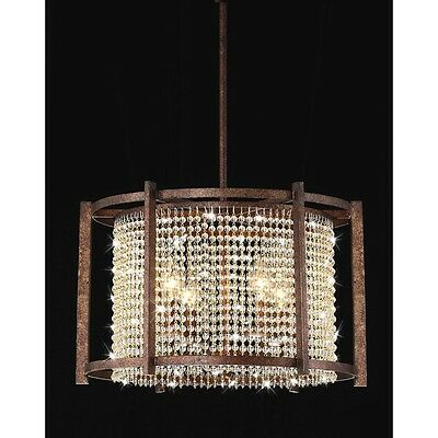 Vintage Rustic Brown Cage Crystal Chandelier Pendant Light Iron Ceiling Fixture