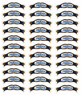33 Gold Blue Roses Small Waterslide Ceramic Decal Transfer