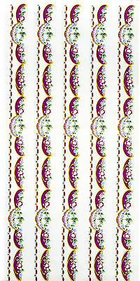 5 Burgundy Pink Roses Floral Strips Ceramic Decal Transfer