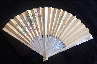 Antique Tiffany Victorian Hand Painted Silk Mother of Pearl Fan 1877 Box & Note