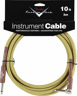 Fender Custom Shop 10' Foot ft Guitar Cable TWEED Stratocaster Straight Angled
