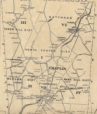 Chaplin Clarks Corner CT 1869  Map with Businesses and Homeowners Names Shown