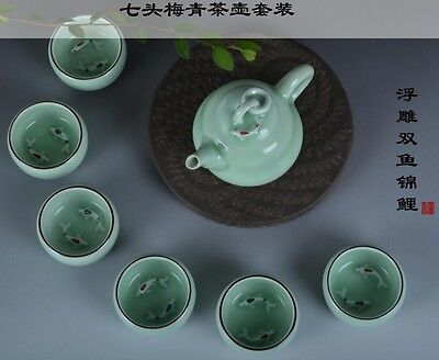 Free intl shipping Antique Chinese teapot set (with 6 cups)