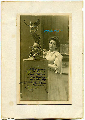 1915 San Diego Expo Signed Photo Julia B. Wendt - Only Known Image Of Sculpture!
