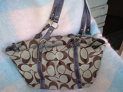 """VINTAGE COACH  """"USED"""" large 18 by 12 carry all shoulder bag - drawstring close"""