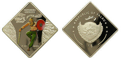Republic Of Palau $1 Silver Commemorative Coin Proof, Teutoburg, Rainbows End