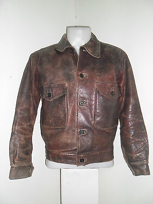 30's STUNNING RARE SPORT JACKET BROWN HORSEHIDE LEATHER FANTASTIC CONDITION