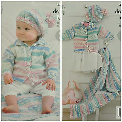 KNITTING PATTERN Baby Easy Knit Jacket with Collar and Beret DK King Cole 4202