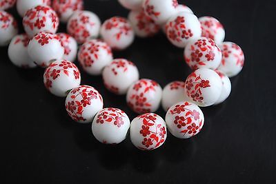 20pcs 10mm Vintage Red Plum Blossom Round Porcelain Beads Spacer Findings Charms
