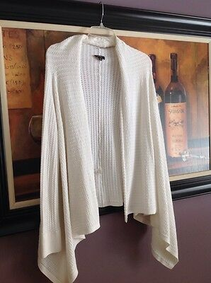 TALBOTS WHITE KNIT ASYMMETRICAL HEM SWEATER WRAP~size L
