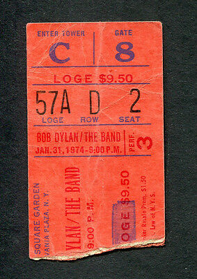 1974 Bob Dylan The Band concert ticket stub Madison Square Garden NY 01/31 Eve