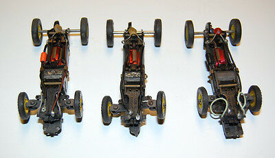 3 VINTAGE 1960'S VIP 1/32 SLOT CAR CHASSIS WITH STEERING - VICTORY INDUSTRIES