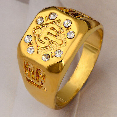 New Glary 9k Yellow gold filled White CZ Women And Men Ring Gift  Wrapping 9#