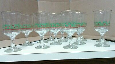 13 Arby's 1985 Chirstmas Collection Glass Goblet Holly Leaves/Berry