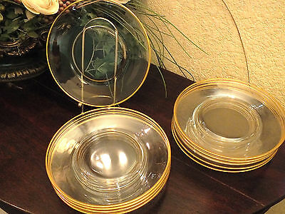 """Lot of 12 Vtg Fostoria """"CLASSIC GOLD 1958-1982"""" 8 1/2"""" Crystal Luncheon Plates"""