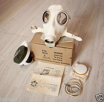 Israeli rare white Gas Mask, 1968 manufacture, by Shalon chemical industries
