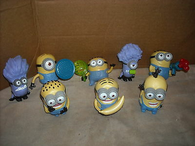 McDONALD'S DESPICABLE ME 2 MINIONS COMPLETE SET OF 8  # 1,2,3,4,5,6,7,8, OPENED