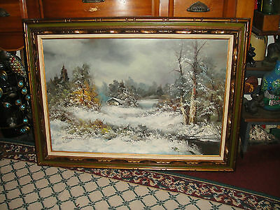 Superb G Whitman Oil Painting On Canvas-Hut House Mountains Snow Trees Water