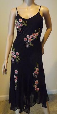 CACHE Beaded Ribbon Floral 100% Silk Maxi Gown Open Back Sexy Dress 6