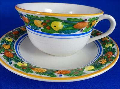 Adams Micratex China Della Robia~Multicolor~Fruit on White~Flat Cup & Saucer Set