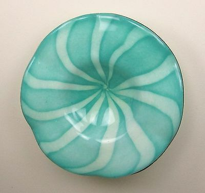 "25"" Hand Blown Art Glass Table Platter Plate Teal Green White Wall Hanging Mount"