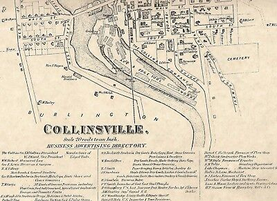 Collinsville Center CT 1869  Map Homeowners Names Shown with Business Directory