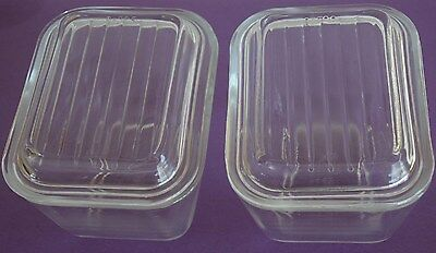 Set Vintage Pyrex Glass Covered Refrigerator Dish Dishes Lids 4 Four Nice 501-B