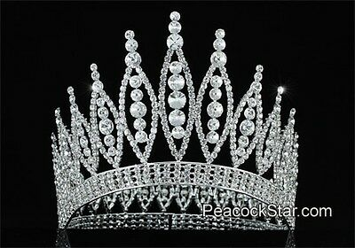 Sparkling High Quality Pageant Tall Tiara Full Circle Swarovski Crystal Crown