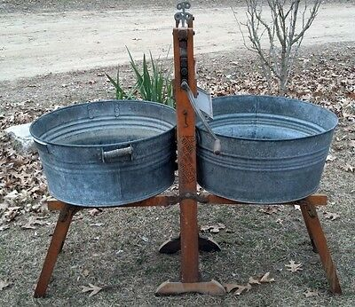 1890s Antique American Wringer Co. Hand Crank Washing Stand w/ Steel Tubs