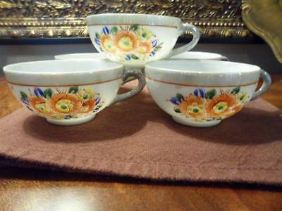 4 Thin Lusterware Porcelain Hand Painted Demitasse/Children Teacups Made JAPAN
