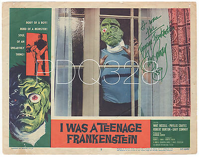 "1957 AIP Sci-Fi ""I WAS A TEENAGE FRANKENSTEIN"" Original Lobby Card Signed!"