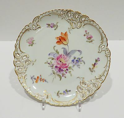 """Nymphenburg 1012 Handpainted and Reticulated 7.5"""" Floral Dessert Cabinet Plate"""