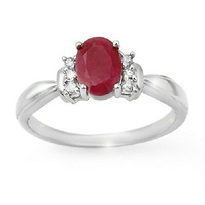 NEW with TAG Genuine 1.35 ctw Ruby & Diamond Ring 14K White Gold US 6.5