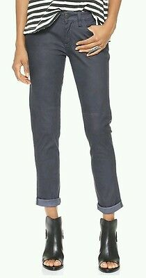 NWT Current / Elliott Faded Black Feather Leather Pants sz 24 RETAIL $798
