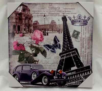 """Wood Board Wall Art Collage Pictues Cityscape Eiffel Tower 16x16x1"""" Painting"""