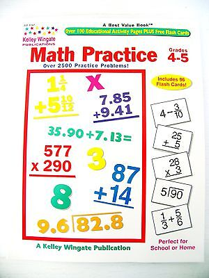Math Practice 119p Grade 4th 5th teacher resource book workbook with flashcards