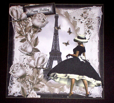 Handmade Greeting Card 3D All Occasion With A Lady in Paris And The Eiffel Tower