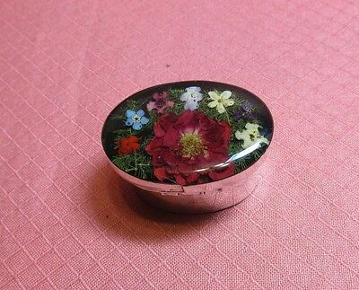 HAND MADE ALPACA SILVER PILL BOX W DRIED RED FLOWERS UNDERNEATH LUCITE