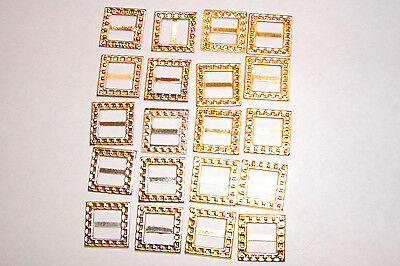 20  Square Gold and Silver Buckles (10mm Inner Bar) for Your Doll Fashions